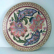 "Porcelain H.F.P. MACAU TOYO Decorative PLATE 1970's 12.5"" CHINA Pink Green Lilac"
