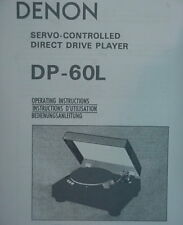 DENON DP-60L TURNTABLE OPERATING INSTRUCTION MANUAL 36 Pages