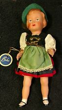 "Vintage Celluloid doll Beko  9"" girl ethnic"