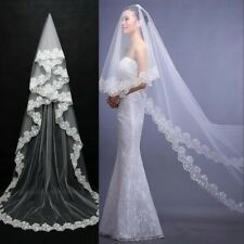 White/Ivory Long Wedding Veil Cathedral Bridal Veil Lace Edge Wedding Accessorie