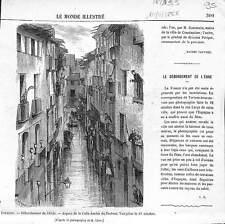 Espagne débordement de l'Ebre à la Calle ancha de Tortosa 1866 ILLUSTRATION