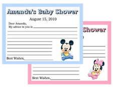 20 BABY MICKEY OR MINNIIE BABY SHOWER ADVICE CARDS
