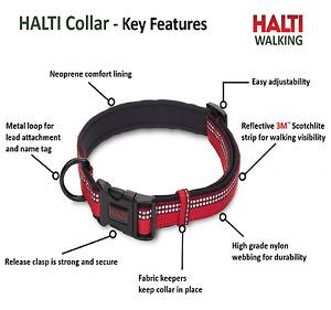 Halti Premium Dog Collar Adjustable Neoprene Reflective Red Black