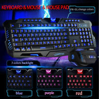 Gaming Keyboard and Mouse Set 3 Color Changing Backlight Mouse Rainbow LED