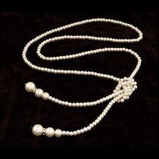 Sautoir-collier avec perles nacrées fantaisie, esprit couture, 116,5 cm, neuf