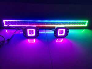 50Inch LED Light Bar + Flush Mount Pods RGB Halo Chasing Bluetooth Fit For Jeep