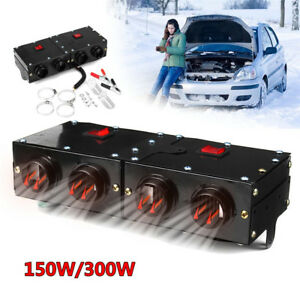 12V 150W/300W Car Portable 4 Hole Heating Heater Fan Defroster Demister w/Switch