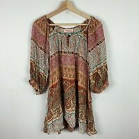 Boho Australia Womens Dress S/M Mutlicoloured Boho Long Sleeve Boat Neck
