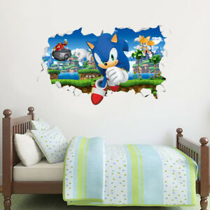 Sonic The Hedgehog Wall Sticker - Dr Eggman Chasing Sonic and Tails Smashed Wall