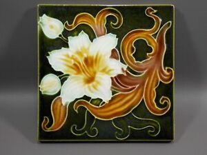 Antique art nouveau Majolica tile 19th Tube-lined England
