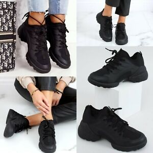 WOMENS LACE UP CHUNKY LADIES SNEAKERS RUNNING WOMEN TRAINERS SHOES BLACK