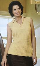 KNITTING PATTERN Ladies Sleeveless Collared Textured Top Open Neck Rowan PATTERN