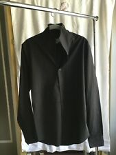 Hermes Men fitted  Shirt with double High Collar Black Shirt long sleeves