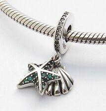 OCEAN STARFISH SHELL DANGLE CHARM Sterling Silver.925 For European Bracelet 473