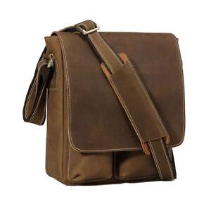 Men Genuine Leather Messenger Bag Satchel Business Crossbody Bag Shoulder Bag