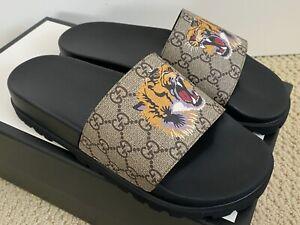 NIB Gucci Pursuit Trek GG Supreme Logo Tiger Canvas Slide Sandals UK 8 US 9 $550
