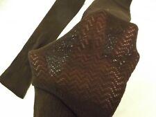Vtg 1960s NEW Dk Brown Chevron Open Knit Nylon Over the Knee Stockings Sz 9-11