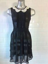 SIZE 8 MISS SELFRIDGE SHEER BLACK CHIFFON DRESS PEARLS GOTH STEAMPUNK WHITBY