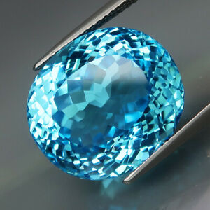 25.19Ct.Ravishing Color&Full Sparkling! HUGE Swiss Blue Topaz Brazil