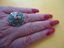 Vtgt Tibetan Silver Ring Turquoise & Red Coral Inlay  Size - 8.5    #R69.