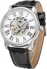 Elegant Steampunk Men's Mechanical Watch Hand-wind Roman Silver White