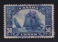 Canada Sc #158 (1929) 50c dark blue Schooner Bluenose Used VF Violet CDS