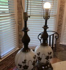 """Rare Vintage  EF & EF Industries 32"""" White GLASS Table Lamp NO. 338  READ"""