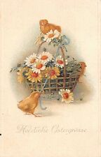 AK Litho. Fröhliche Ostern Küken mit Blumenkorb Blumen Postkarte gl. 1917 Plauen
