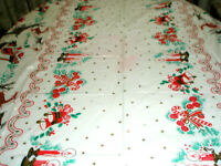 Vintage Plastic Holiday Tablecloth  Reindeer Santa Sleigh Bells Candy Canes