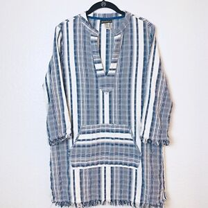Tommy Bahama Blue & White Cotton Striped Long Sleeve Fringe Tunic Top/Dress SZ M