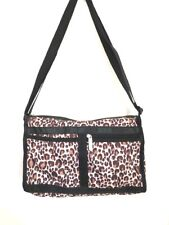 LeSportsac Leopard Print Deluxe Everyday Bag / Purse w/ Matching Zipper Pouch