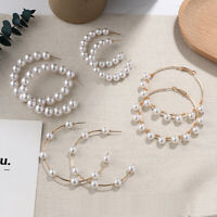 Statement  White Simulated Pearl  Hoop Earrings  Geometric  Big Round Circle