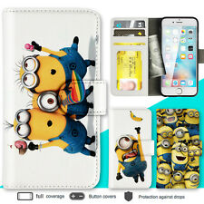 iPhone 8 7 Plus 6s 6 SE Case Minion Print Wallet Leather Cover 5 5c 4s For Apple