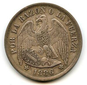 Genuine Silver 1886 Chile Peso | XF+ Condition