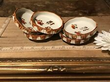 """5 Asian Porcelain Coasters/Dipping Bowls Brown & White w/Symbols 3""""x1"""""""