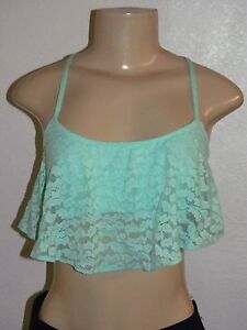 NWT HOLLISTER WOMENS GILLY HICKS MINT GREEN LACE RUFFLE CROP TOP BRALETTE M