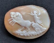 Antique Victorian Shell Cameo 9ct Gold Brooch Goddess Nike