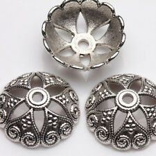 10Pcs Tibetan Silver Loose Flower Printing Spacer Beads Caps Finding DIY Jewelry