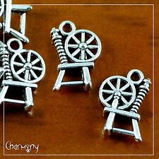 Spinning Wheel charm ~PACK of 10~ Tibetan silver spindle wool fairy tale spin