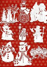 NEW 9 SNOWMAN DIE CUTS - WINTER CHRISTMAS TOPPER TATTERED LACE COTTAGECUTZ