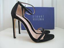 NIB $419 Stuart Weitzman Nudist Ankle Strap Sandals Black Goosebump sz 9