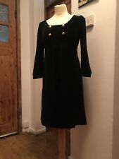 100% Authentic Genuine Designer Juicy Couture Black Velvet gold Dress M