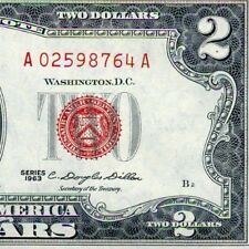 1963 $2 US Note *** Red Seal *** # A02598764A Appears Uncirculated
