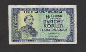 20 KORUN VERY FINE  BANKNOTE FROM CZECHOSLOVAKIA 1945 PICK-61