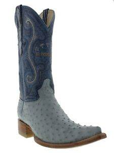 Mens Real Sky Blue Ostrich Western Leather Cowboy Boots Pointed Rodeo Toe