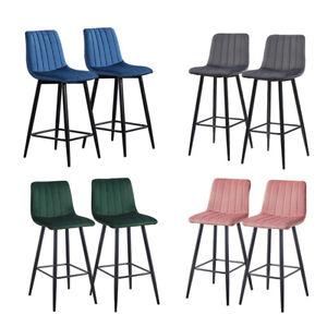 Pair of Bar Stools Set Velvet Upholstered Metal Legs Barstool Breakfast Chairs