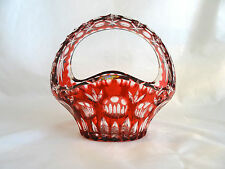 Nachtmann Bamberg Ruby Red Cut to Clear Large Crystal Handle Basket