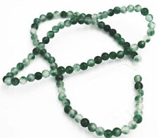 Natural 4MM white&green emerald Round Loose Bead Gem 15 ""