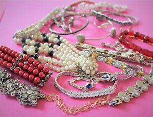 Vintage jewellery huge lot bracelets bangles crystal glass gold silver tones