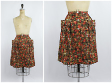 Vintage 1960s/60s Deadstock Orange Brown Abstract Watercolor Print Cotton Skirt